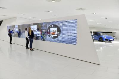 Interactive wall at porsche museum