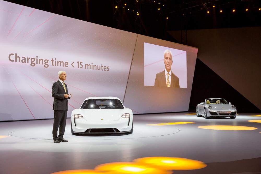 Matthias mu ller porsche mission e new 911 carrera iaa 2015 franckfurt