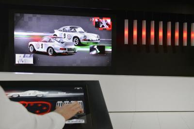 Touchscreen exhibit at porsche museum