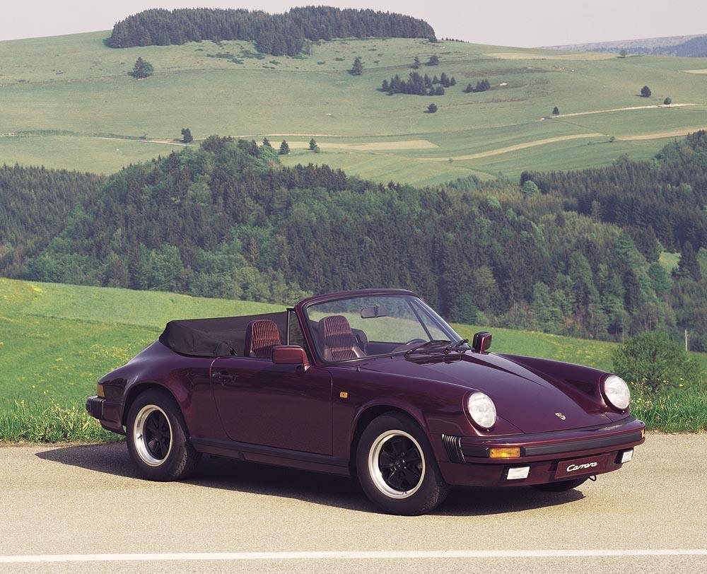 Porsche 911 type g carrera 3 2 cabriolet face profil violet