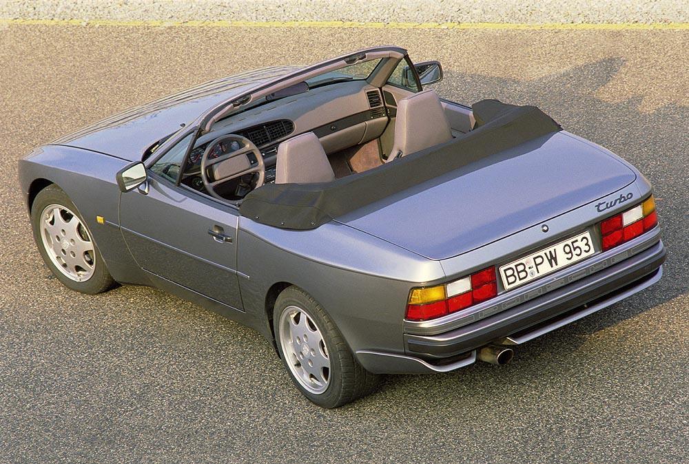 Porsche 944 turbo cabriolet gris arriere