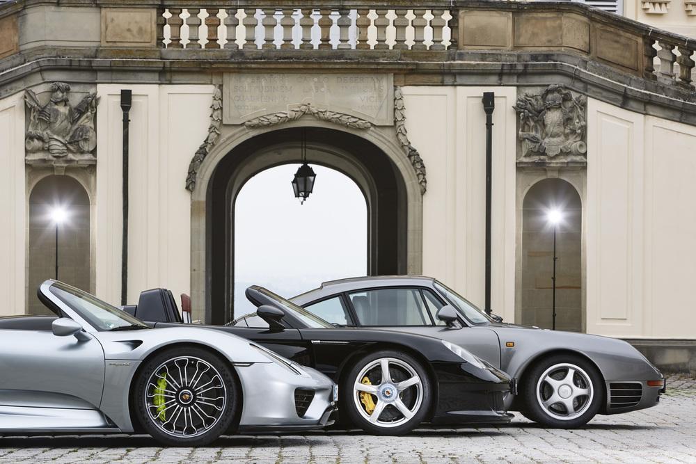 Porsche 959 carrera gt et 918 spyder profil