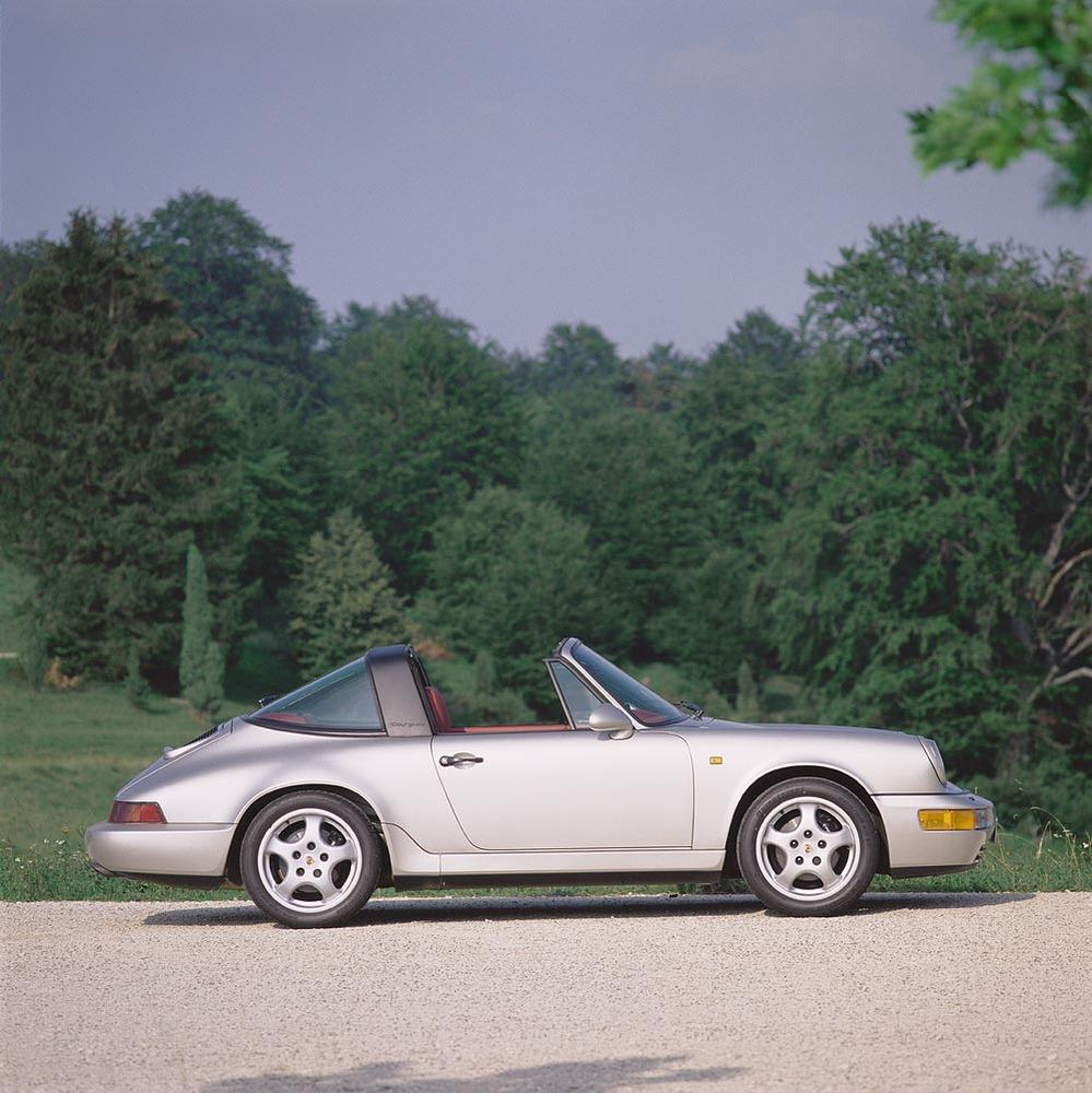 Porsche 964 carrera 4 targa profil gris