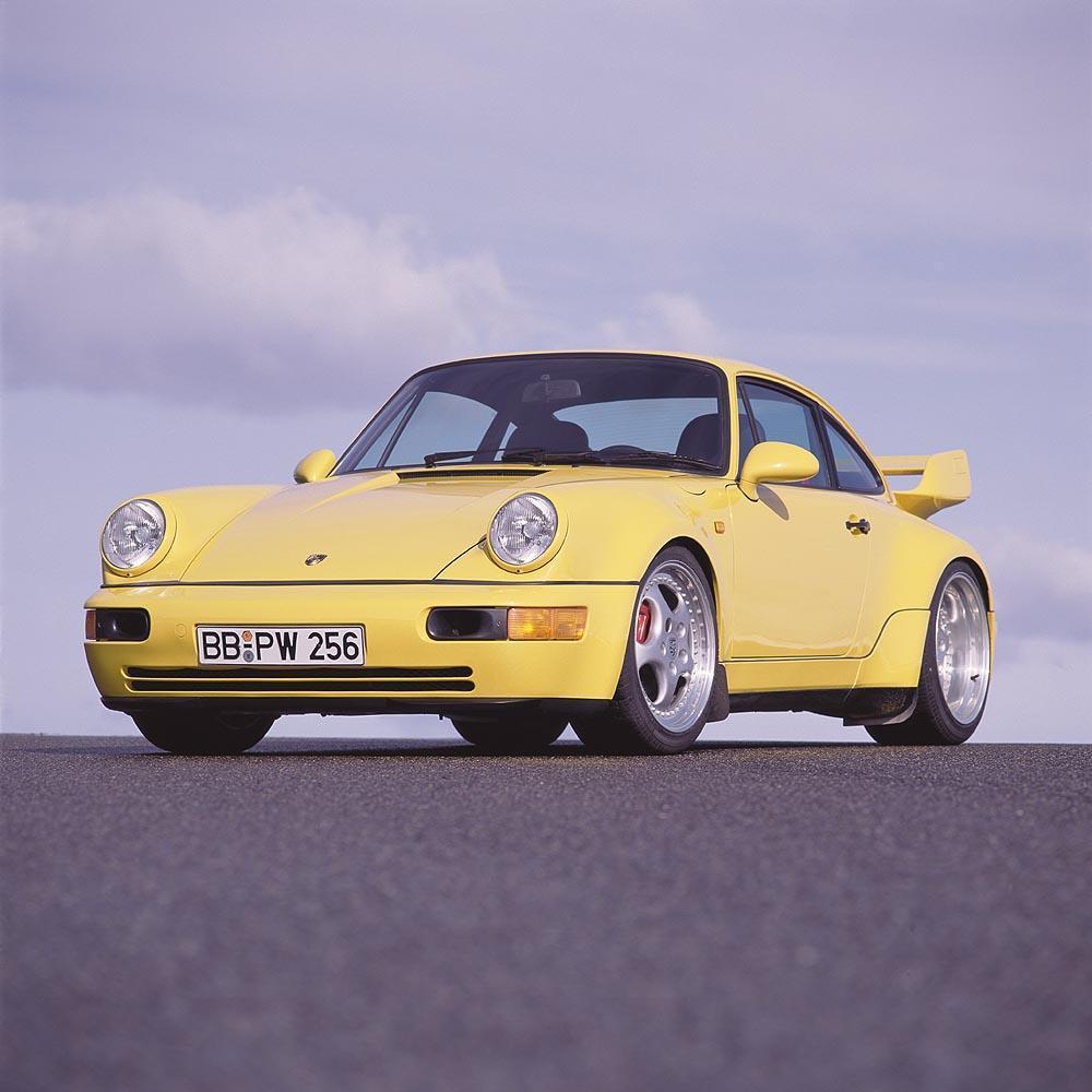 Porsche 964 carrera rs 3 8 jaune face