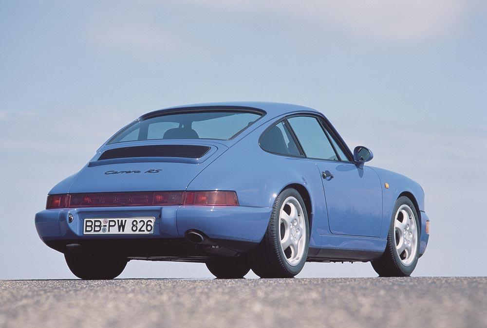 Porsche 964 carrera rs bleu arriere