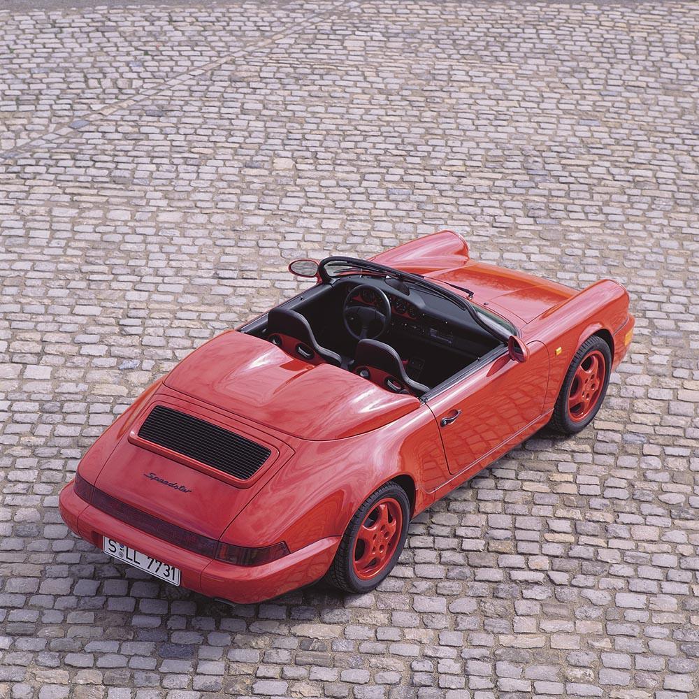 Porsche 964 speedster rouge dessus