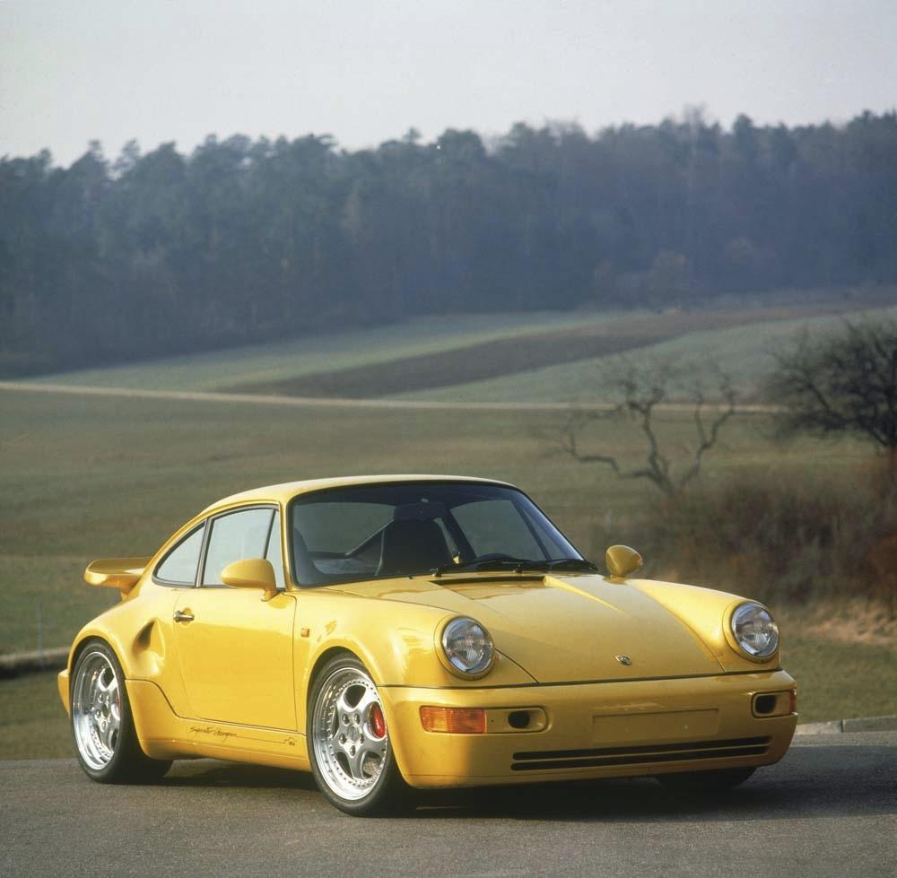 Porsche 964 turbo s leichtbau jaune face
