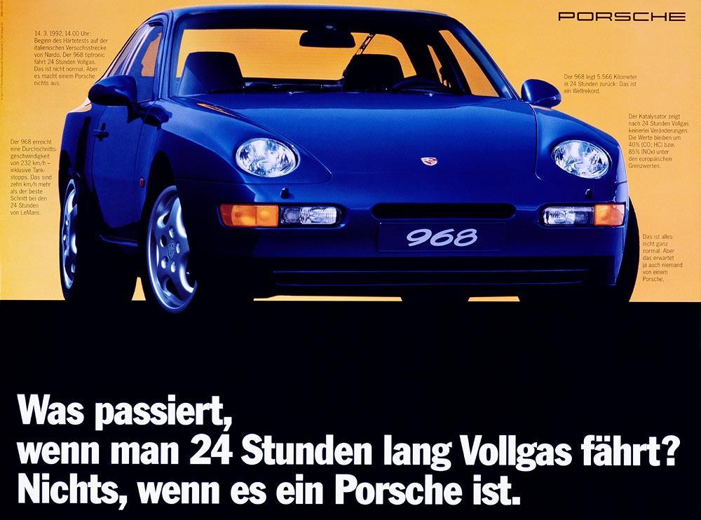 Porsche 968 bleue avant pub