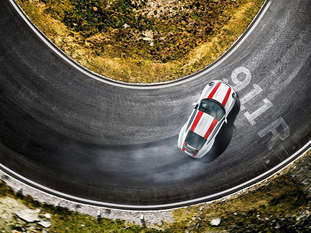 Porsche 991 r blanc dessus