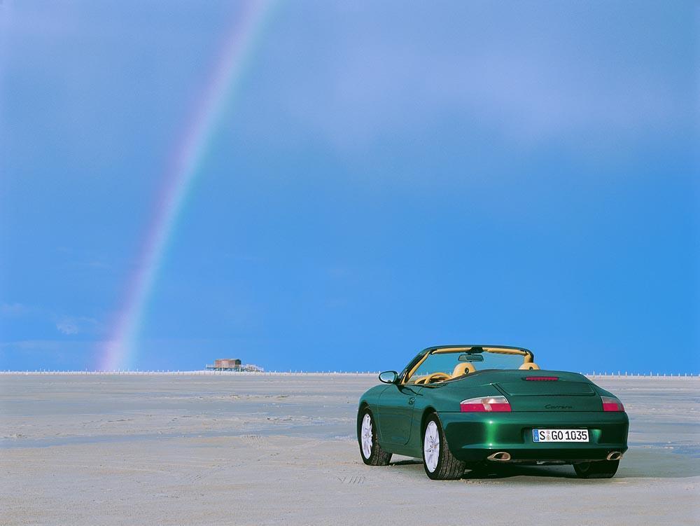 Porsche 996 cabriolet vert arrier