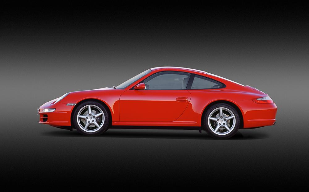 Porsche 997 carrera rouge indien profil