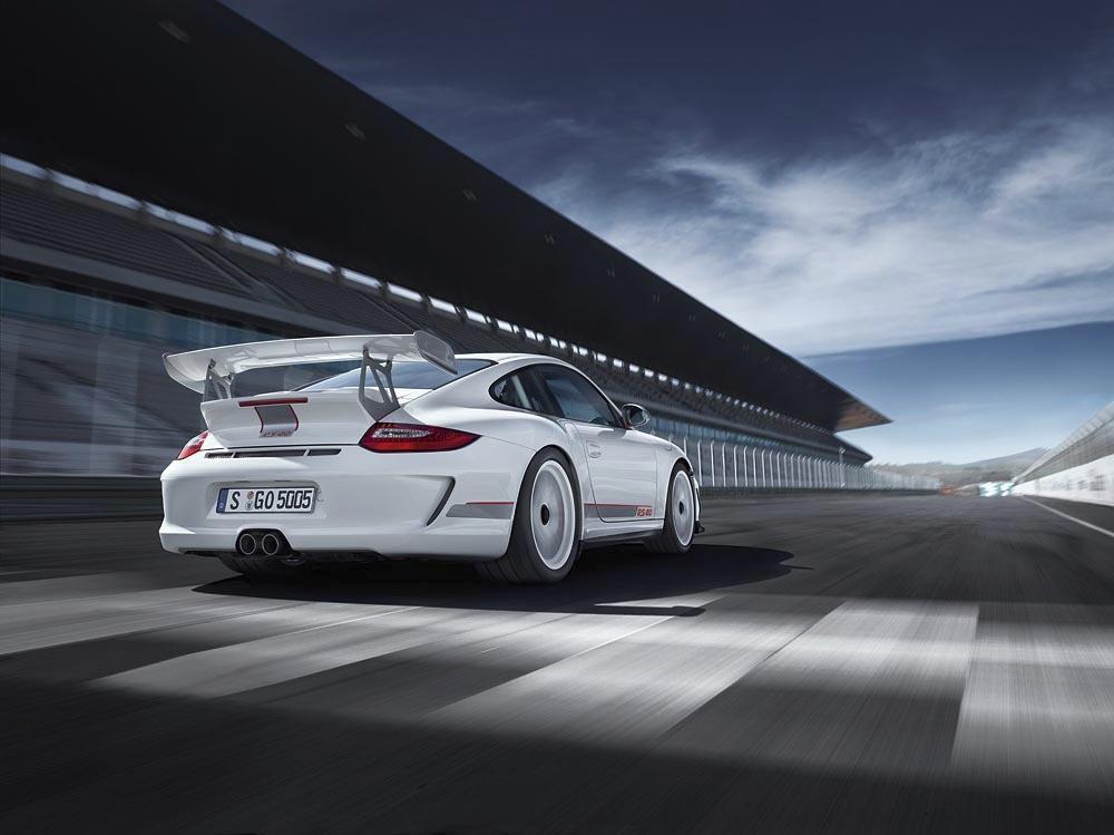 Porsche 997 gt3 rs 4 0 arriere blanc