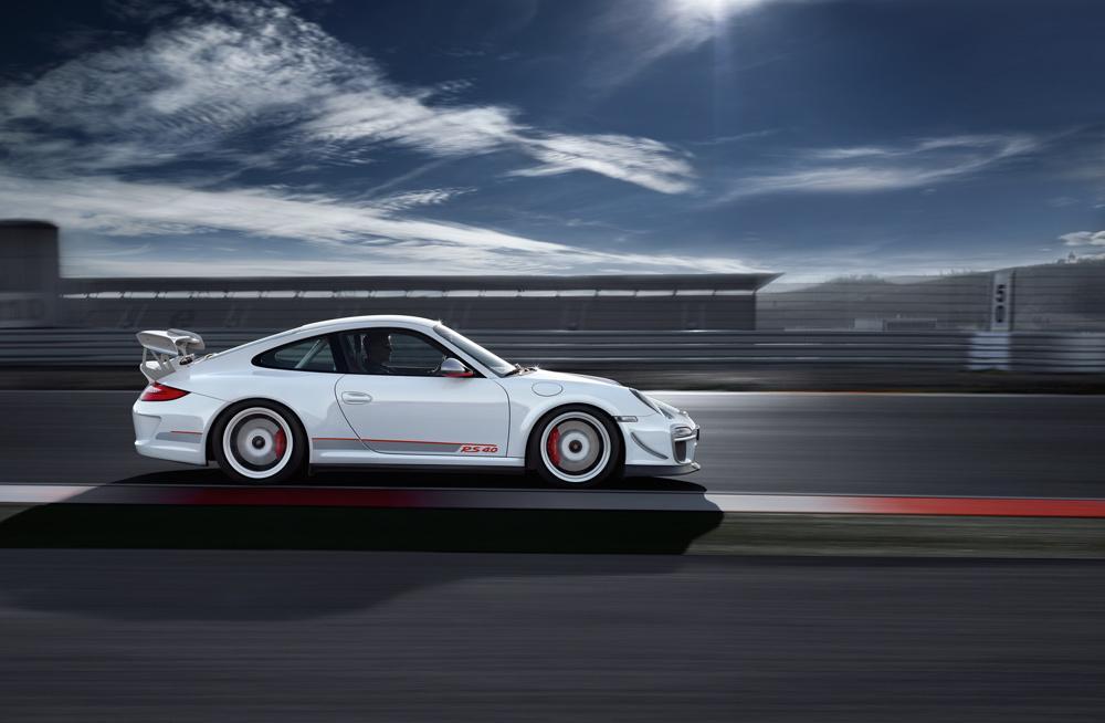 Porsche 997 gt3 rs 4 0 blanc profil