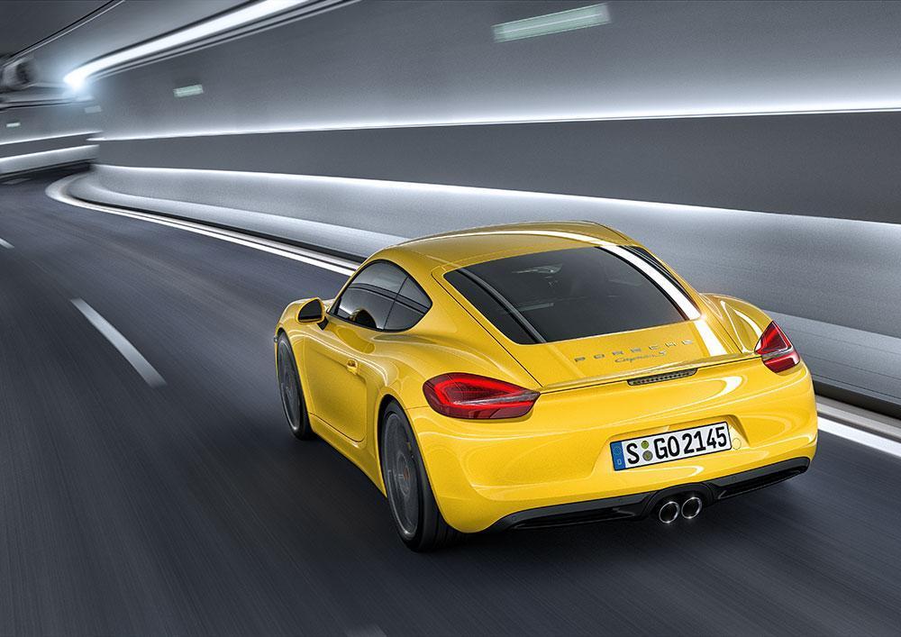 Porsche cayman 981 jaune arriere